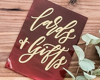 Cards And Gifts Acrylic Wedding Sign [Gold + Ombre Deep Red]
