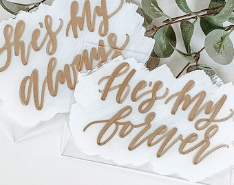 He's My Forever + She's My Always Place Card Set [White & Gold]