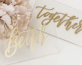 Better + Together Bride And Groom Place Card Set [Clear & Gold]
