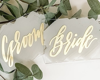 Bride + Groom Place Card Set [Gray & Gold]