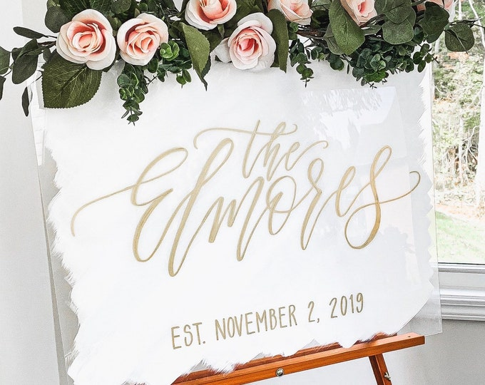 "Featured listing image: ""Last Name"" Wedding Welcome Sign"