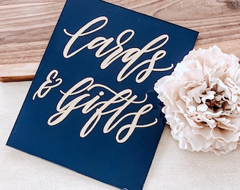 Cards And Gifts Wedding Sign [Navy Blue & Gold]