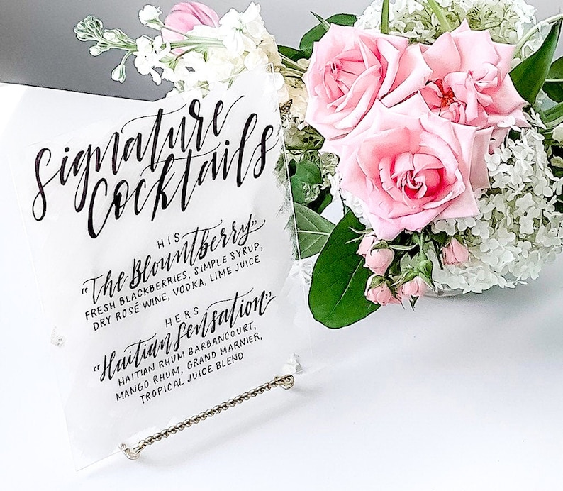 Wedding Signature Cocktails Sign  Acrylic Signs  Wedding BRUSH STROKE 11x14 inches