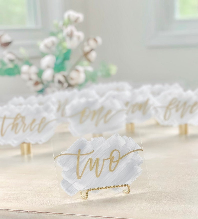 Acrylic Brush Stroke Table Numbers  4x6  Wedding Signs  image 0