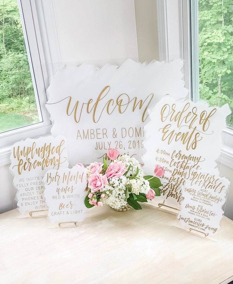 Acrylic Wedding Bundle  SET OF 3 to 5 Signs  Painted Back image 0