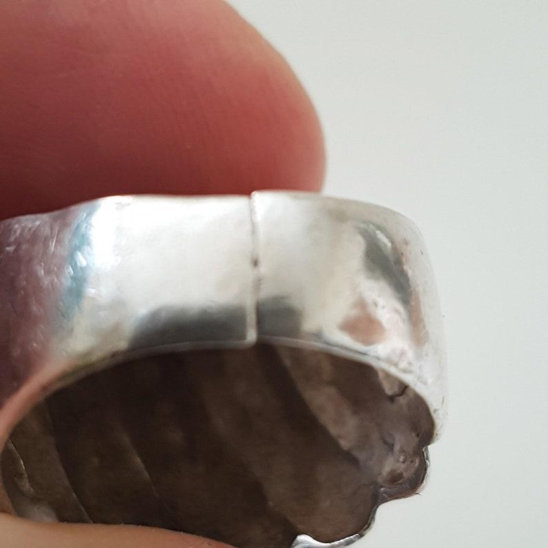 statement ring boho ring 925 ring Large Vintage round boulder ribbed ring elegant ring dome  sterling silver ring
