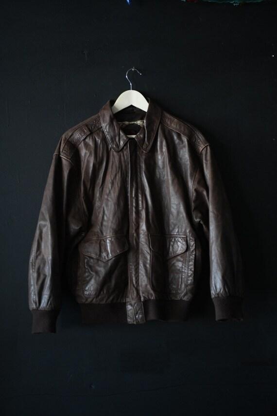 Vintage Men's Leather Flight Bomber Jacket