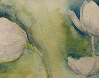 Ghost Flowers - Original Watercolor