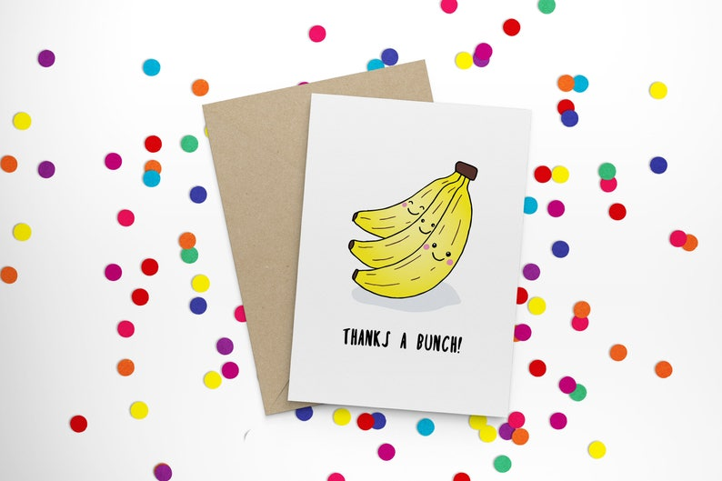 hand illustrated funny Thanks a bunch! pun banana bananas thank you card thanks