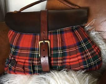 Vintage Rogues hand grafted VR bag Stewart Tartan body, English saddlery fold over opening .