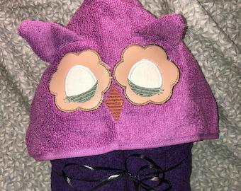 Closed eye owl hooded towel