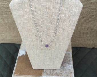 Purple Sea Glass and Gold 18 Inch Necklace