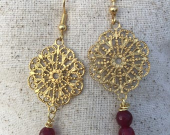 Red Jade and Gold Earrings