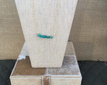Turquoise and Gold 20 inch Necklace