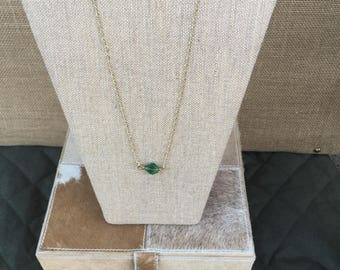 Green Sea Glass and Gold 28.5 inch Necklace