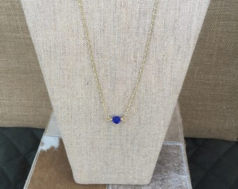 Blue Sea Glass and Gold 28 inch Necklace