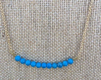 Turquoise and Gold 18 Inch Necklace