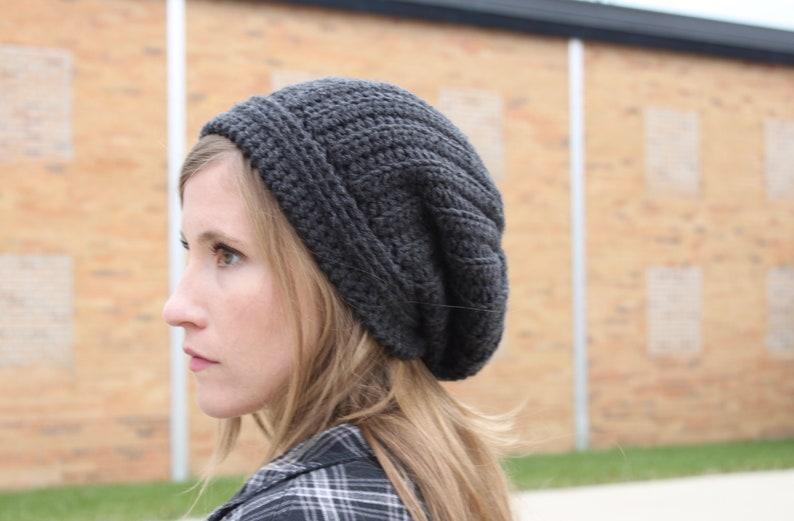 Crochet Pattern for Men/'s Slouchy Hat faux knit crochet hat Crochet Ribbed Textured Slouchy Beanie Skull Cap Knit Look Gray