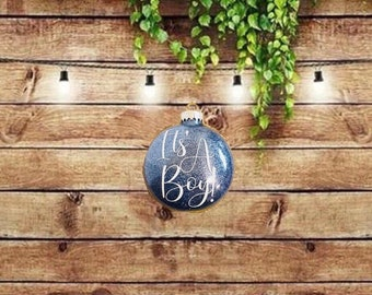 It's A Boy! Or Its' A Girl! Personalized Glitter Flat Disc Glass Christmas Ornament