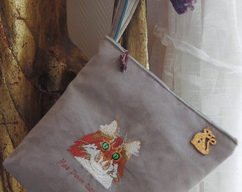 BAG embroidered cat purse with Embroidered Cat Wallet wrist strap