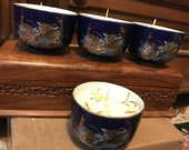 Jasmine scented candle in Blue Peacock Satsuma cups
