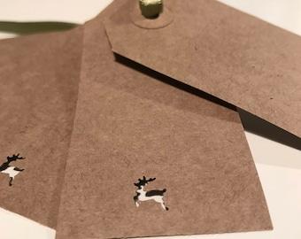 10 Brown Kraft Christmas Reindeer Tags