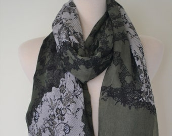 SALE 11.99 Lace Print Lightweight Wrap Shawl Scarf, fashion scarves, Women's shawls, Boho, Lace Print Pretty Shawl