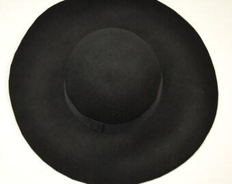Black Wool Felt Boho Floppy Hat ed635841a12c