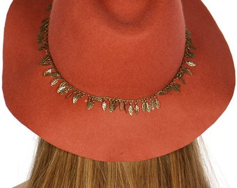 1f01e9e720a Boho Wool Felt Floppy Hat in Color Rust