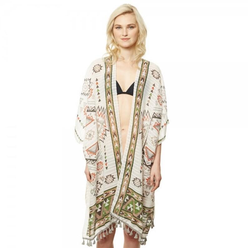 621e7776d981 Boho Sun Worshiper Aztec Ikat Print Fringed Kimono Wrap Boho