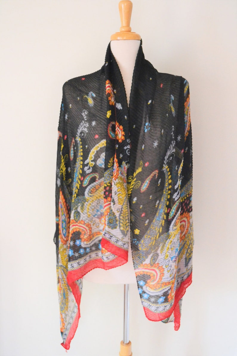 4bf116268e Pleated Paisley Large Cotton Shawl Wrap Scarf Large Cotton
