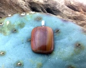 Fused opaque glass pendant recycled stain glass lamp glass variegated browns like rich sandstone natural colors made in Ajo, AZ