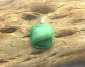 Fused opaque glass pendant recycled stain glass lamp glass matte finish greens streaky upcycled Ajo artisans Ajo Arizona
