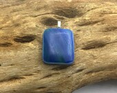 Fused opaque glass pendant recycled stain glass lamp glass matte finish blues streaky upcycled Ajo artisans Ajo Arizona
