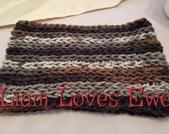 Crochet infinity cowl.  Brown, Grey and black infinity cowl. Women's infinity cowl.  Neckwarmer.