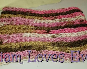 Crochet infinity cowl.  Pinks and browns infinity cowl.  Women's infinity cowl.  Neckwarmer
