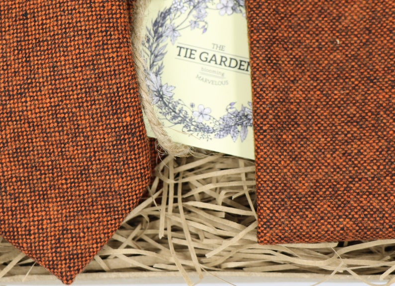 JoJo Ties for Men Groomsmen Gifts for Men Wool Tie Bow Tie Wool Pocket Square Wedding Tie Wedding Attire Orange Tie Slim Tie Mens Ties