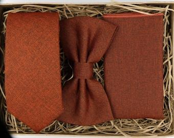 TOP RUSS: Ties for Men, Orange Necktie, Bow Tie, Orange Pocket Square, Wedding Tie, Wedding Attire, Groomsmen Gift, Wedding Gifts