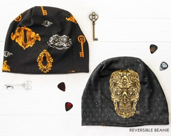 Slouchy skull beanie, reversible gothic hat with skeleton key, rock and roll girl, goth clothing, skull gifts  and rock n roll hats