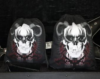 Skull drawstring backpack, 2 sizes