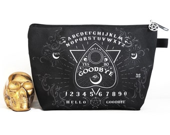 Ouija board purse, ouija makeup bag, goth cosmetic bag, gothic gifts for her
