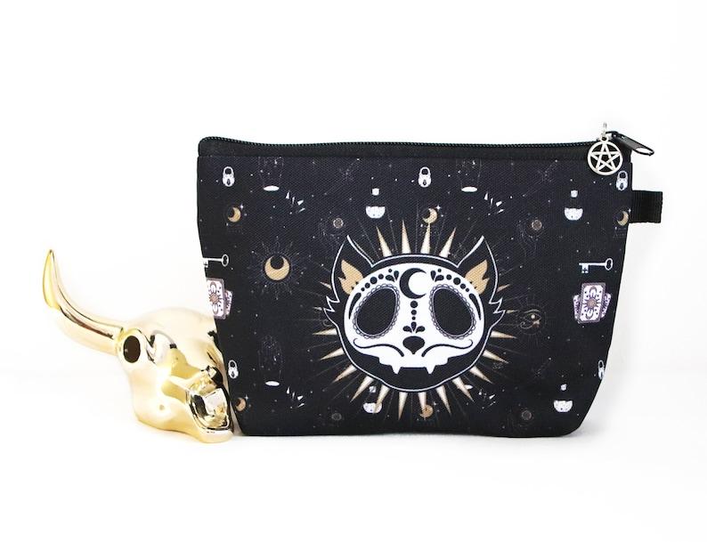 Black cat makeup bag witch purse organizer goth pencil bag image 0