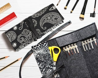 Tool organizer, artist roll up pencil case, gothic pen holder, makeup brush case, custom biker gifts for men, personalized goth gift for him