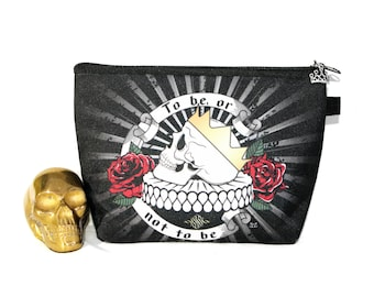 Shakespeare makeup bag organizer, Hamlet skull purse organizer, to be or not to be teacher gifts, book lover pencil case pouch