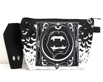 Vampire fangs cosmetic bag pouch