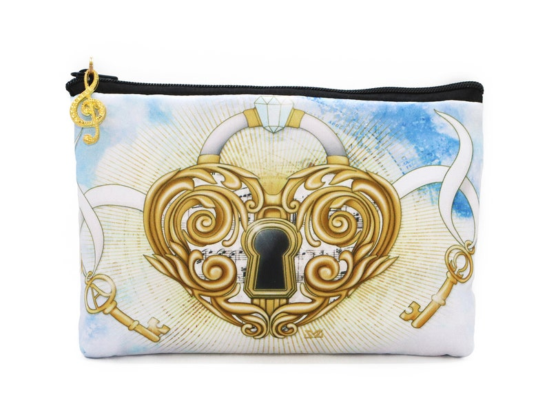 Wings heart lock cosmetic bag pouch image 0