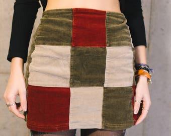 Vintage patchwork corduroy skirt