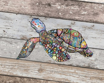 Turtle Printed Vinyl Decal, Zentangle, Colorful