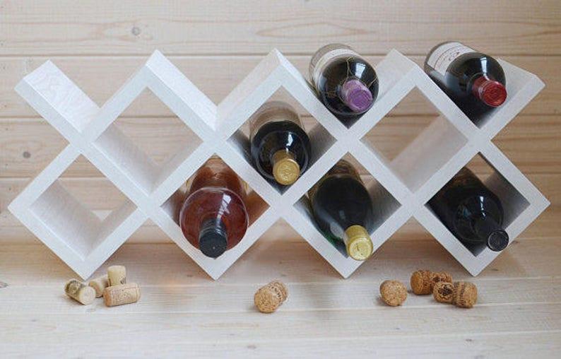 Inne rodzaje Biały stojak na wino drewniane Stojak na wino z drewna | Etsy NC45