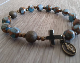 Blue Denim Quartz Rosary Bracelet